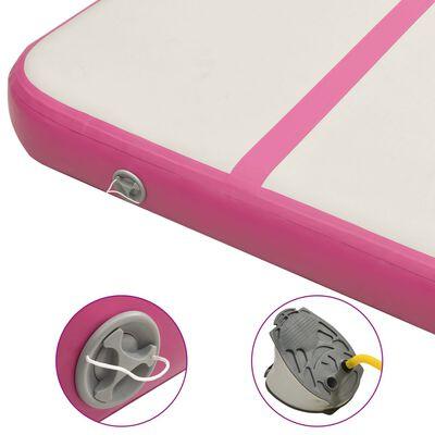 vidaXL Täytettävä voimistelumatto pumpulla 300x100x15 cm PVC pinkki