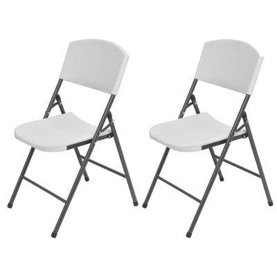 vidaXL Kokoontaitettavat puutarhatuolit 2 kpl HDPE ja teräs valkoinen
