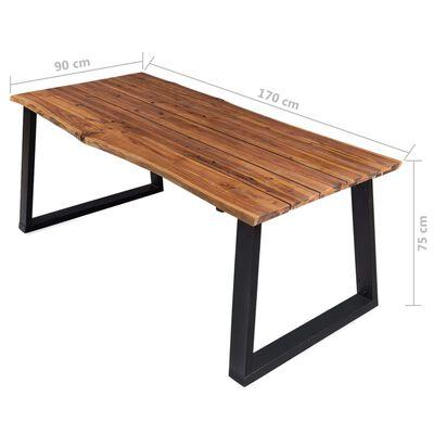 vidaXL Ruokapöytä 170x90x75 cm täysi akaasiapuu