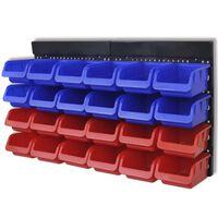 vidaXL Seinäteline työkalutarvikkkeille 2 kpl sininen & punainen