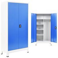 vidaXL Lukkokaappi 2:lla ovella metalli 90x40x180 cm harmaa ja sininen