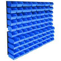 vidaXL 96-osainen säilytyslokerosarja seinällä sininen