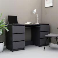 vidaXL Kirjoituspöytä korkeakiilto harmaa 140x50x77 cm lastulevy