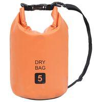 vidaXL Kuivapussi oranssi 5 l PVC
