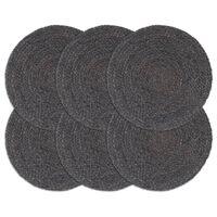 vidaXL Tabletit 6 kpl kuvioton tummanharmaa 38 cm pyöreä juutti
