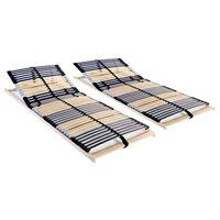 vidaXL Sängyn sälepohjat 2 kpl 42 säleellä 7 vyöhykettä 90x200 cm