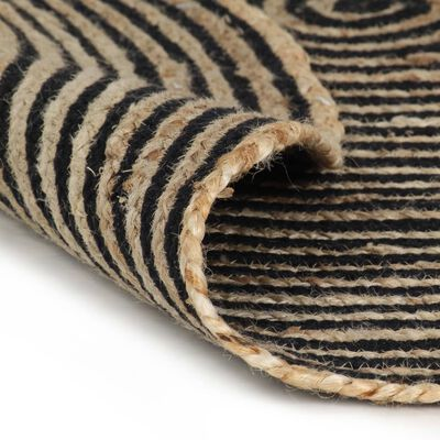 vidaXL Käsintehty pyöreä juuttimatto mustalla spiraalikuviolla 120 cm