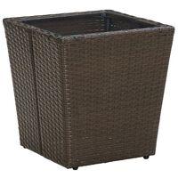 vidaXL Teepöytä ruskea 41,5x41,5x44 cm polyrottinki ja karkaistu lasi