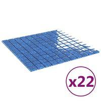 vidaXL Mosaiikkilaatat itsekiinnittyvät 22 kpl sininen 30x30 cm lasi
