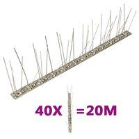 vidaXL 5-riviset lintu- ja kyyhkyspiikit ruostumaton teräs 40 kpl 20 m