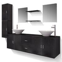 vidaXL 11-osainen Kylpyhuoneen Huonekalusarja Pesuallas ja Hana Musta
