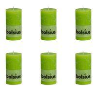 Bolsius Pilarikynttilät 6 kpl rustiikkinen 130x68 mm Limenvihreä