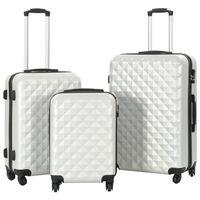 vidaXL Kovapintainen matkalaukkusarja 3 kpl kirkas hopea ABS
