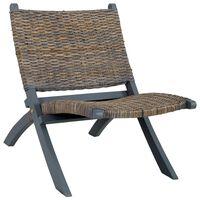 vidaXL Nojatuoli harmaa luonnollinen kubu-rottinki ja täysi mahonki