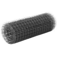 vidaXL Kanaverkko teräs PVC pinnoitteella 25x0,5 m harmaa