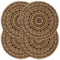 vidaXL Tabletit 4 kpl tummanruskea 38 cm pyöreä juutti