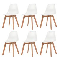vidaXL Ruokapöydän tuolit 6 kpl valkoinen muovi