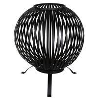 Esschert Design Tulisija pallo raidat musta hiiliteräs FF400