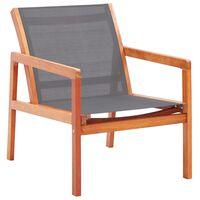 vidaXL Puutarhan nojatuoli harmaa täysi eukalyptuspuu ja textilene