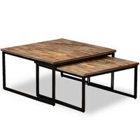 vidaXL Sarjapöytä 2 kpl Kiinteä kierrätetty tiikki