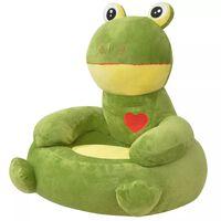 vidaXL Lasten pehmotuoli sammakko vihreä
