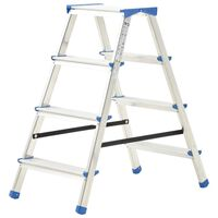 vidaXL Alumiiniset kaksipuoliset tikkaat 4 askelmaa 90 cm