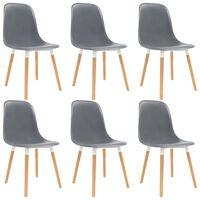 vidaXL Ruokapöydän tuolit 6 kpl harmaa muovi