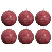 Bolsius Pallokynttilät 6 kpl rustiikkinen 80 mm viininpunainen