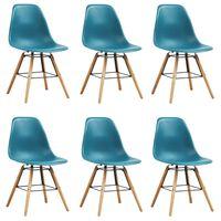 vidaXL Ruokapöydän tuolit 6 kpl turkoosi muovi