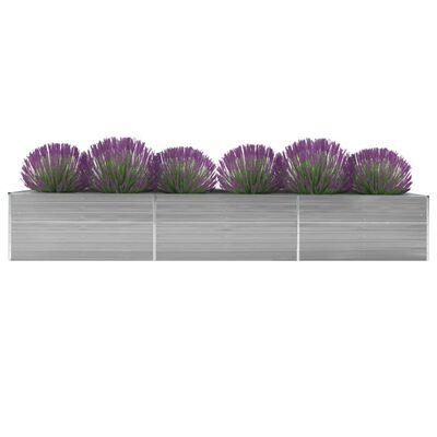 vidaXL Korotettu kukkalaatikko galv. teräs 480x80x77 cm harmaa
