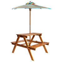 vidaXL Lasten piknikpöytä aurinkovarjolla 79x90x60 cm täysi akaasiapuu