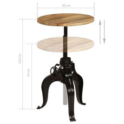 vidaXL Baaripöytä kiinteä mangopuu 60x(76-110) cm