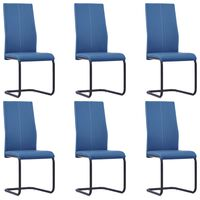 vidaXL Takajalattomat ruokapöydän tuolit 6 kpl sininen keinonahka