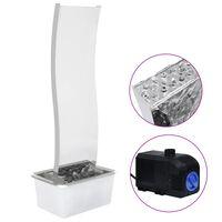 vidaXL Puutarhan suihkulähde LED:llä ruostumaton teräs 130 cm kaareva
