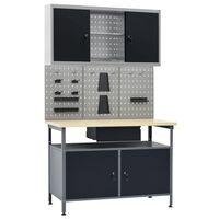 vidaXL Työpöytä kolmella seinäpaneelilla ja yhdellä kaapilla