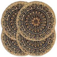 vidaXL Tabletit 4 kpl tummansininen 38 cm pyöreä juutti