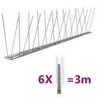 vidaXL 2-Riviset ruostumaton teräs lintu- & kyyhkyspiikit 6-sarja 3 m