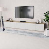 vidaXL TV-taso 2 kpl Lastulevy 120x40x34 cm Valkoinen ja Tammi