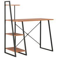 vidaXL Työpöytä hyllyillä musta ja ruskea 102x50x117 cm