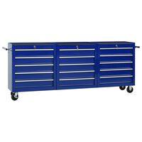 vidaXL Työkalukärry 15 laatikolla teräs sininen