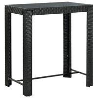vidaXL Puutarhan baaripöytä musta 100x60,5x110,5 cm polyrottinki