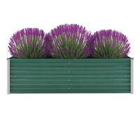 vidaXL Korotettu kukkalaatikko galvanoitu teräs 160x40x45 cm vihreä