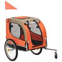vidaXL Koirankuljetuskärry polkupyörään oranssi ja ruskea