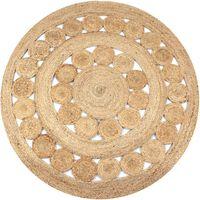 vidaXL Pyöreä matto 150 cm punottu juutti