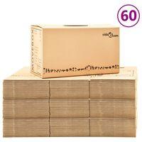 vidaXL Muuttolaatikot pahvi XXL 60 kpl 60x33x34 cm