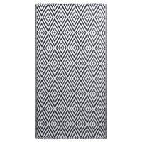 vidaXL Ulkomatto mustavalkoinen 120x180 cm PP