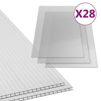 vidaXL Polykarbonaattilevyt 28 kpl 4 mm 121x60 cm