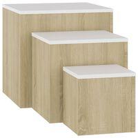 vidaXL Side Tables 3 pcs White and Sonoma Oak Chipboard