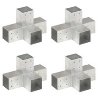 vidaXL Tolppaliittimet 4 kpl X-muoto galvanoitu metalli 81x81 mm