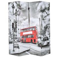 vidaXL Taitettava tilanjakaja Lontoon bussi 160x170 cm mustavalkoinen